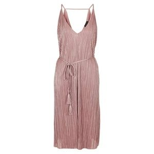 Topshop Plisse Blush Metallic Slipdress